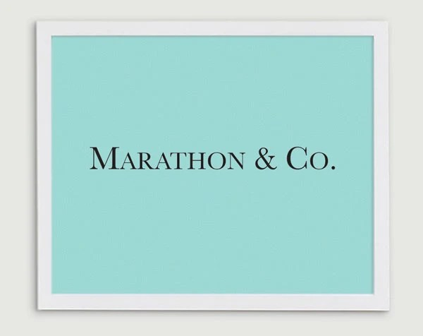 Marathon and Co - Tiffany Blue Running Typography Print - Runner Gift - Run Boston - 8x10