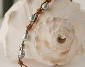 Leather and Pearl Bracelet by JudysDesigns on Etsy