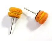 Yellow and Orange Miniature Macaron Earring Posts - Glamour365