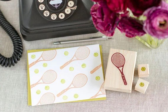 Tennis Racquet and Tennis Balls Rubber Stamp Set - Handcrafted Wood Mounted - Great for Party Invitations Decorations Scrapbooks or a Gift