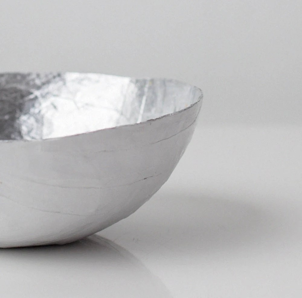 Small Silver Paper Bowl - upintheairsomewhere