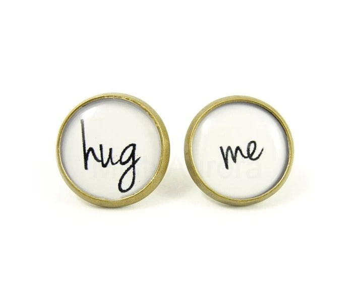 Hug Me Earrings  - Black White Posts - Bronze Earrings - Romantic Jewelry - Free Shipping Etsy - MistyAurora
