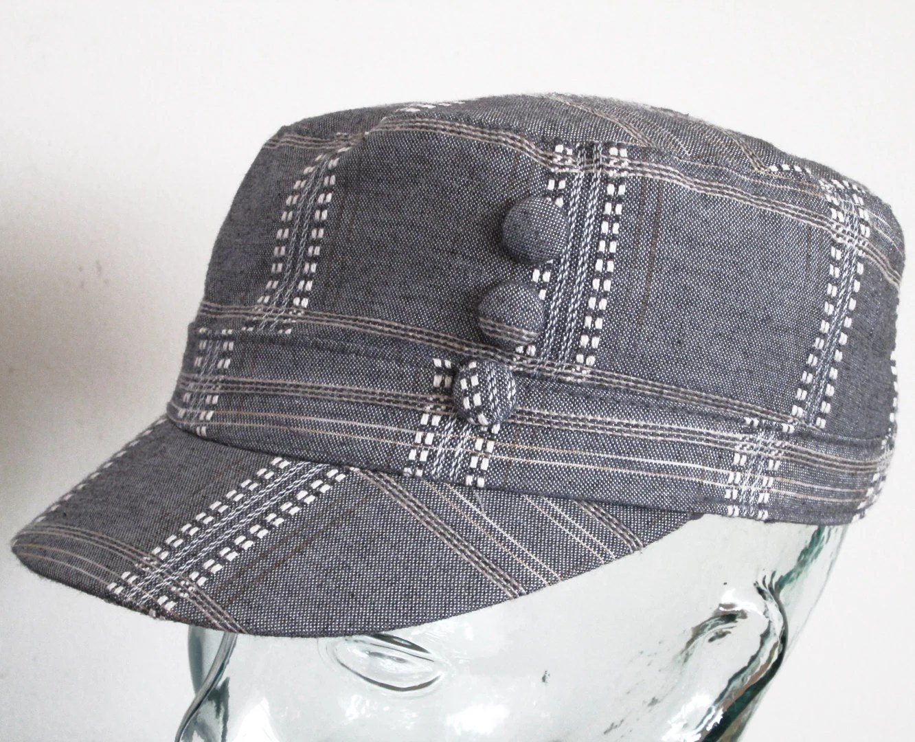 Grey Women Hat Newsboy Cap with Off White Stiches Plaid Fabric size M