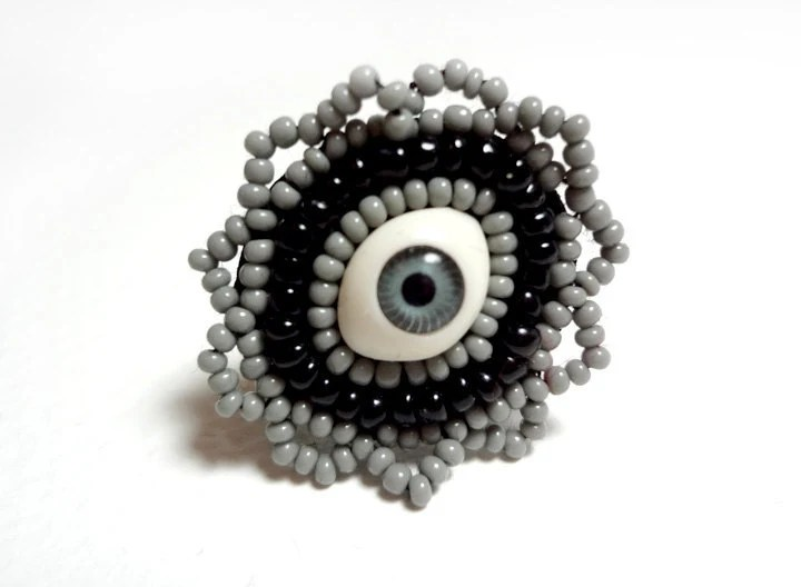Fantasy Eye Ring in Grey and Black Beaded with an Adjustable Band - MegansBeadedDesigns