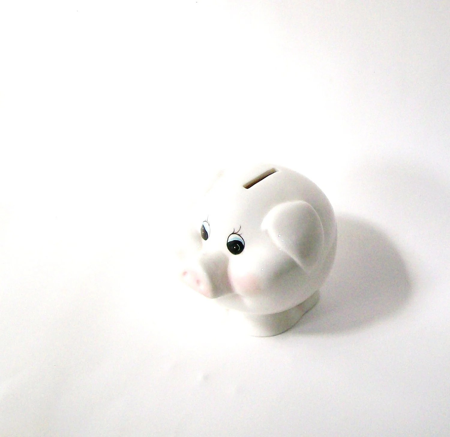 Vintage Piggy Bank.  Round White Petite. Nursery. Girls room. - GLAMOURGIRLCHIC