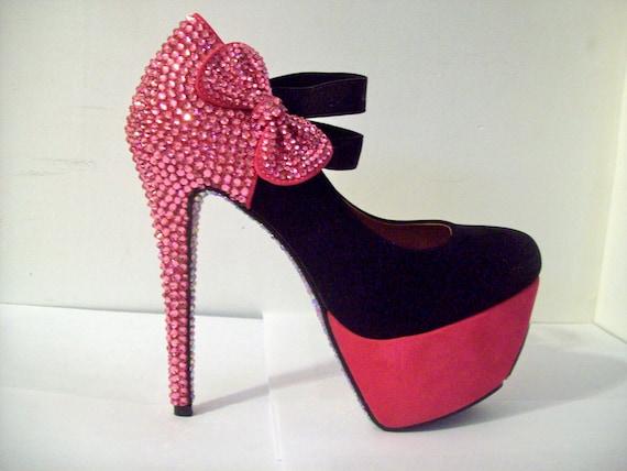 PINK/BLACK SWAROVSKI Rhinestone Shoes W/Bow - uniquezaccess