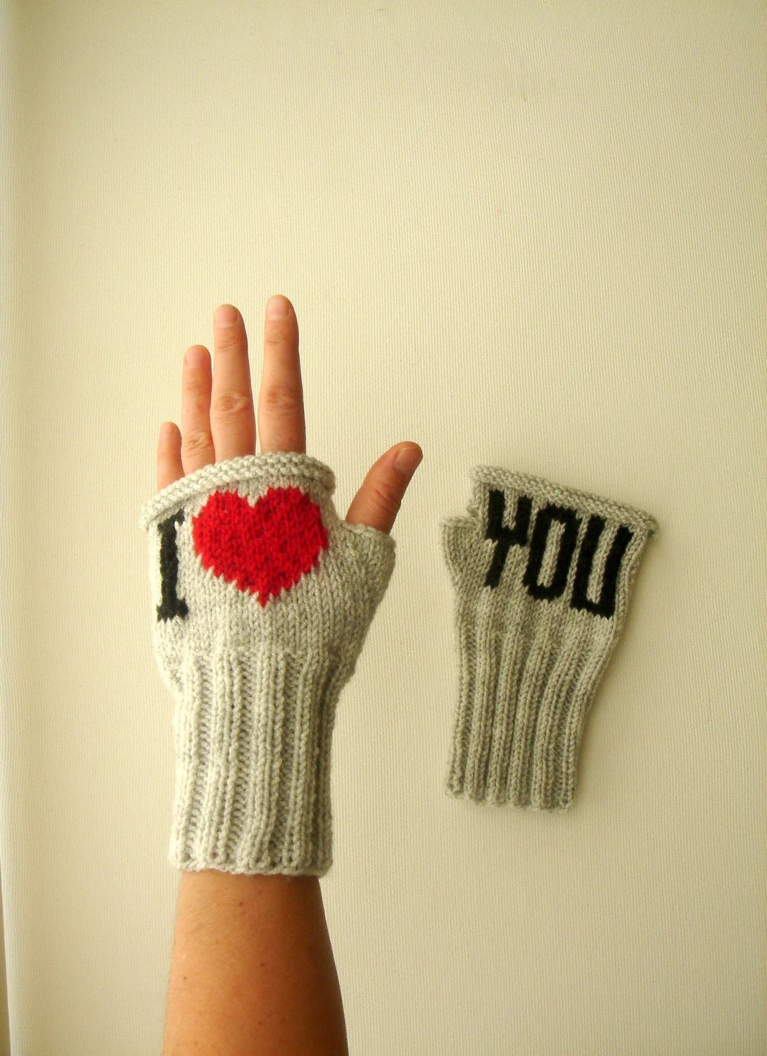 Fingerless Gloves. Fashion 2012. Girls Women. Valentines Day. Love. Gray Color. Red. Black. I Love You. Mother's Days - gloveshop