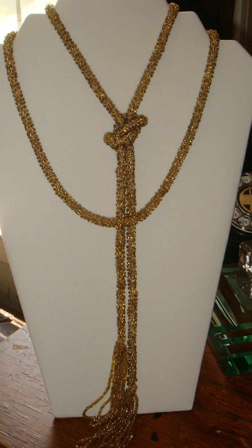 Art Deco 1920s Vintage Flapper Lariat Gold Beaded Cabaret Burlesque Necklace