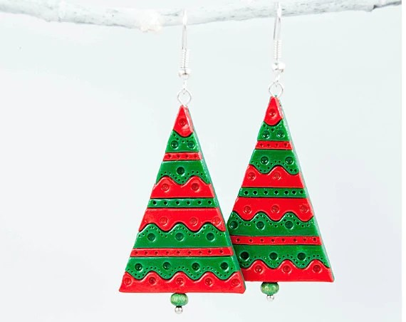 Holidays jewelry - Christmas tree earrings - Black friday Cyber Monday cristmas - Lepun