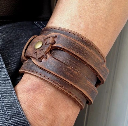 Antique Men's Brown Leather Cuff Bracelet, Leather Wrist Band Wristband Handcrafted Jewelry - pier7craft