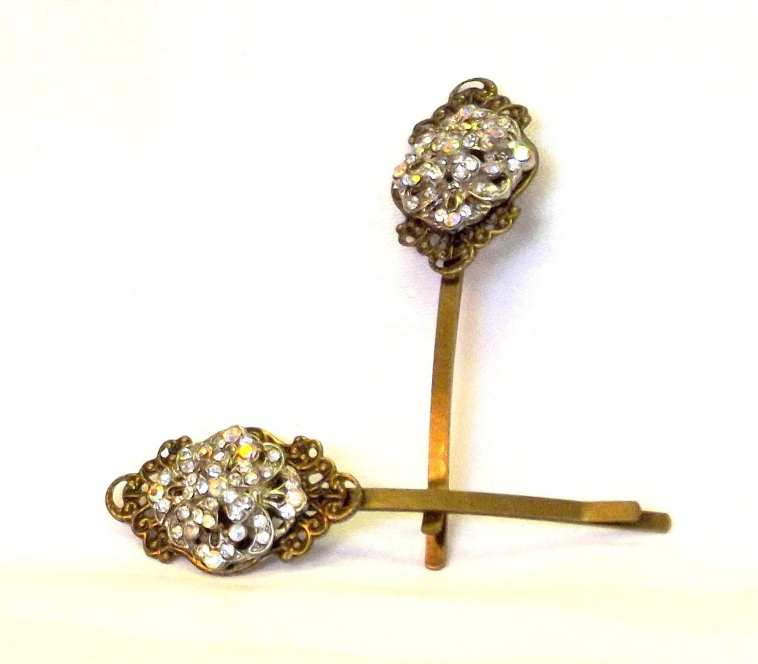 Handmade Rhinestone Button Bobby Pin Set,  Vintage Style Accessory