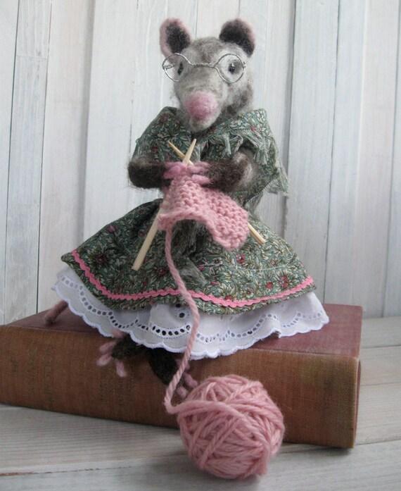 Possum/Opossum Grandma handmade doll - grey needle felted wool - knitting pink yarn
