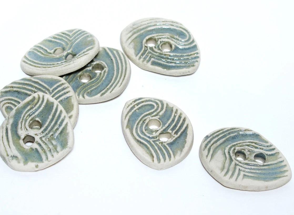 Handmade Ceramic Stoneware Button - Blue Grey Fingerprints - lindabelinda