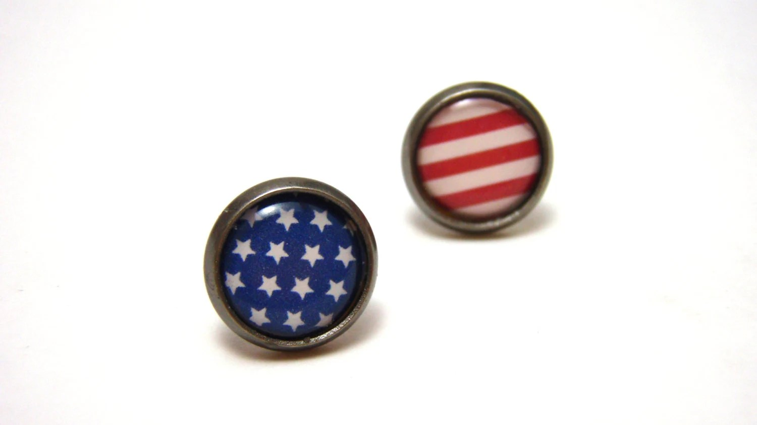 American Flag Studs - Red White and Blue Fourth of July Independence Day themed earrings on SMALL 10mm circular gunmetal posts - Patriotic - NightsRequiem