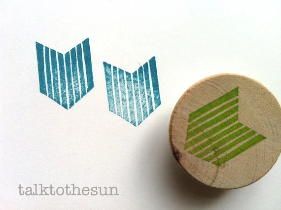 geometric rubber stamp - chevron rubber stamp - hand carved rubber stamp - hand carved stamp - mounted - no1 - READY TO SHIP - talktothesun