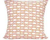 Orange Geometric Pillow Cover Modern Retro Decorative Repurposed 18x18 - PookieandJack