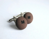 Coffee Brown Initial Cufflinks, Cuff Links, Personalized Fabric Button Cufflinks, Letter Button, Men Accessories, Brown Fabric Button - JoannaBizu