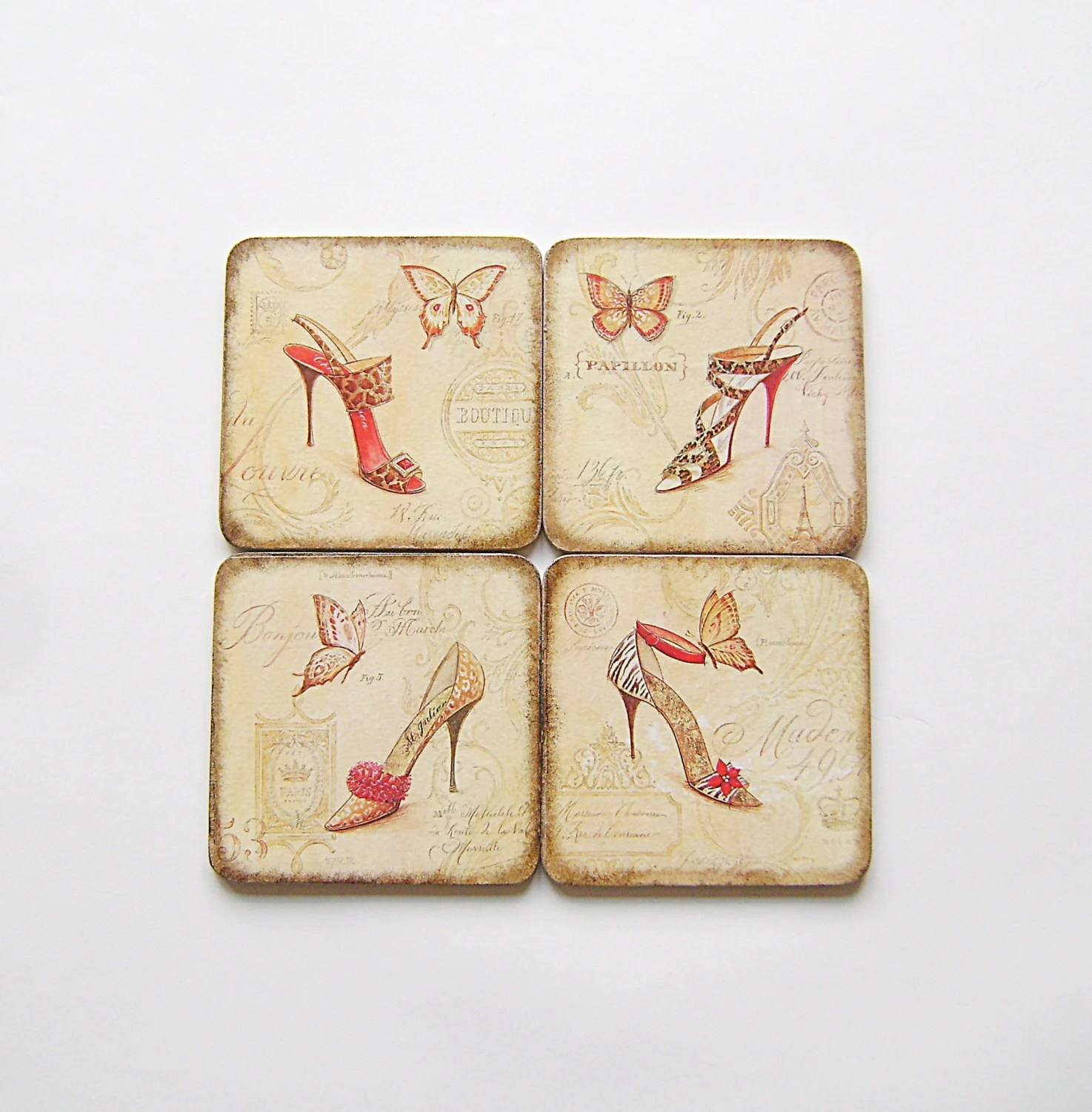 Wood Coasters, Wooden Square Vintage Style Coasters, Set of four , Gift for her, Valentines day,Women's shoes and Butterflies - NataliaDecor