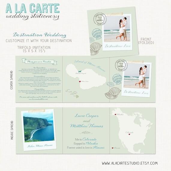 Beach Destination Wedding Invitation - Tri-fold invitation - Hawaii - Custom Map included