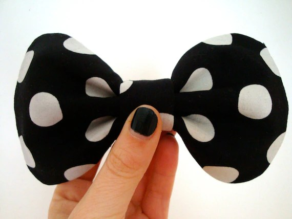 Big Dolly Bow // Black and White Spotty Hair Bow // Limited Edition // Original Design // Ready to ship