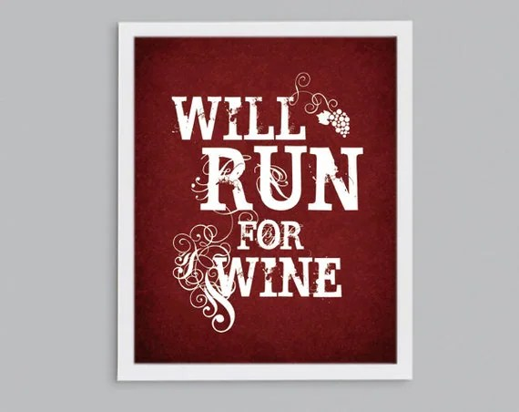Run for Wine - Steampunk Typography Art  - Runner Gift - 8x10
