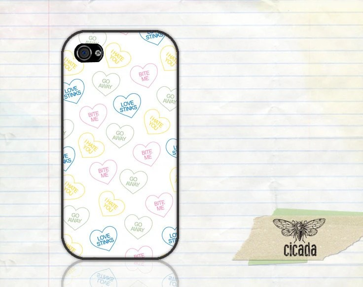 Funny iPhone Case - Anti Valentine Hearts  iPhone 4 Case, iPhone 4s Case, Cases for iPhone 5, iPhone Cover (0139)