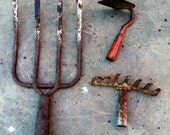 3 Rusty Gardening Tools, Hand Tools, Hoe, Pitch Fork, Garden Rake - LoveDoveTrading
