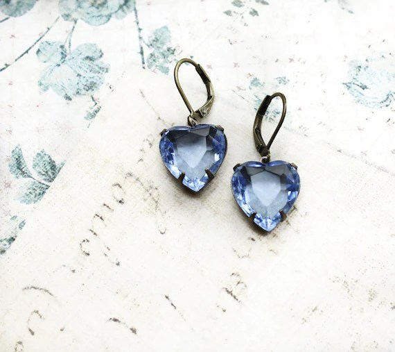 Blue Earrings Heart Rhinestone Light Sapphire Vintage Glass Drop Estate Style Love Bridal Wedding Something Blue Romantic Leverback