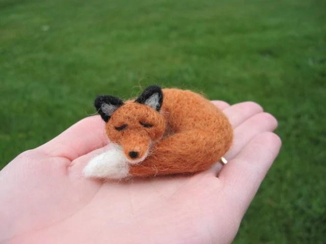 Needle Felted Sleeping Fox Miniature Animal