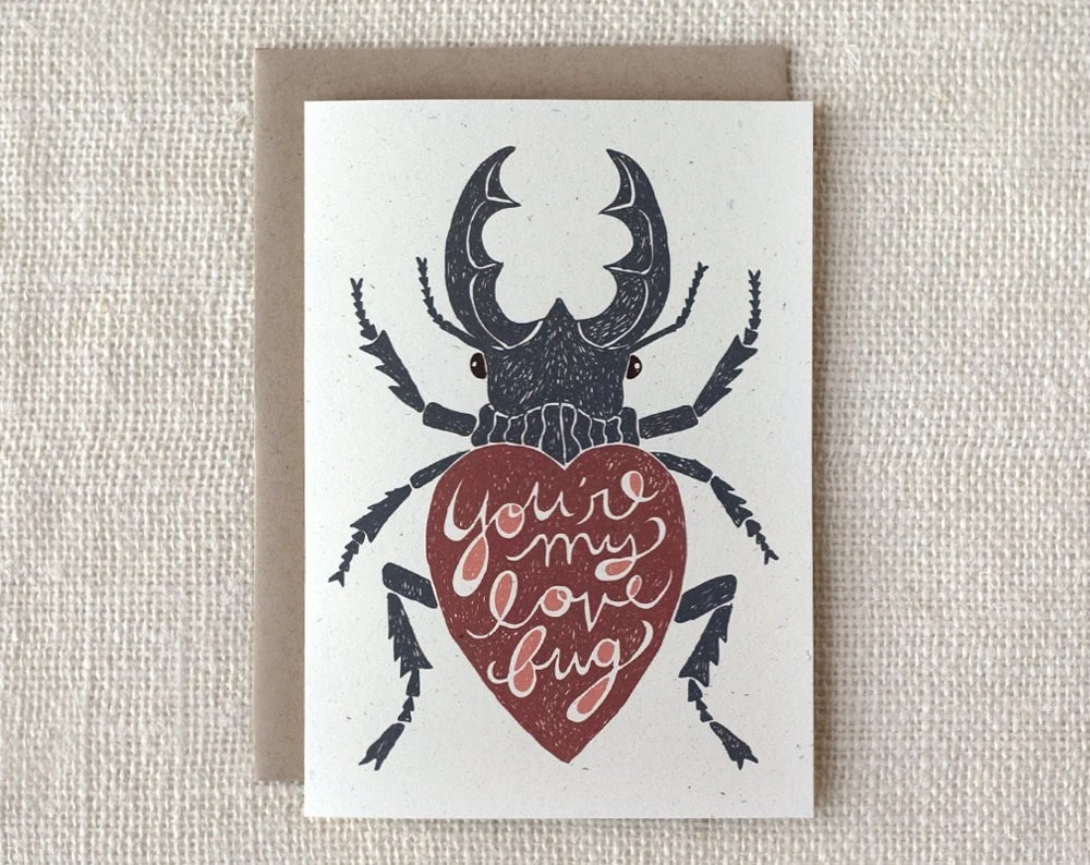 Valentine Card - Love Bug - witandwhistle
