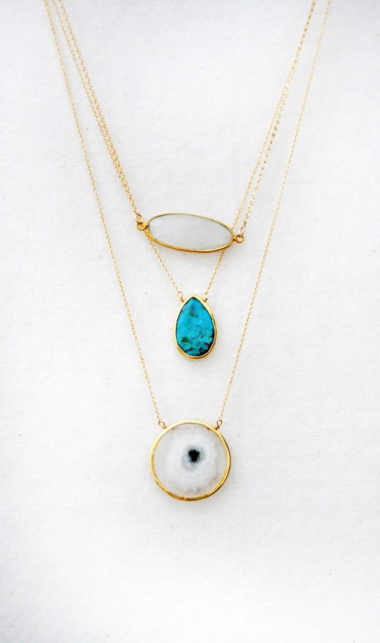 MOONSTONE elongated bezel necklace