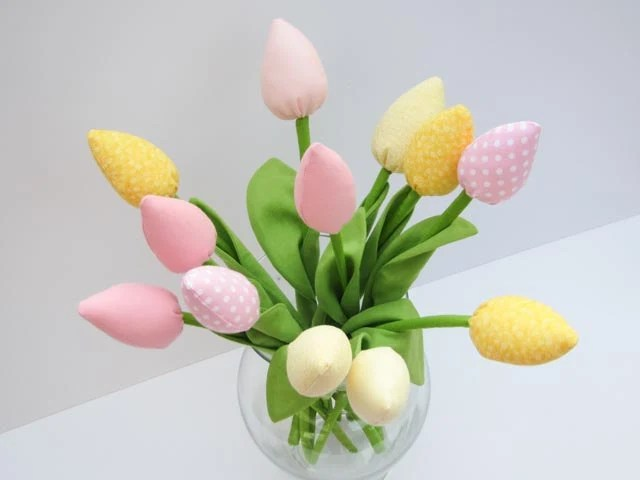 Spring flowers for mom dozen of tulips pink polka dot pale yellow flowers bouquet- gift for birthday Mothers day, bridal shower, baby shower - HappyDollsByLesya
