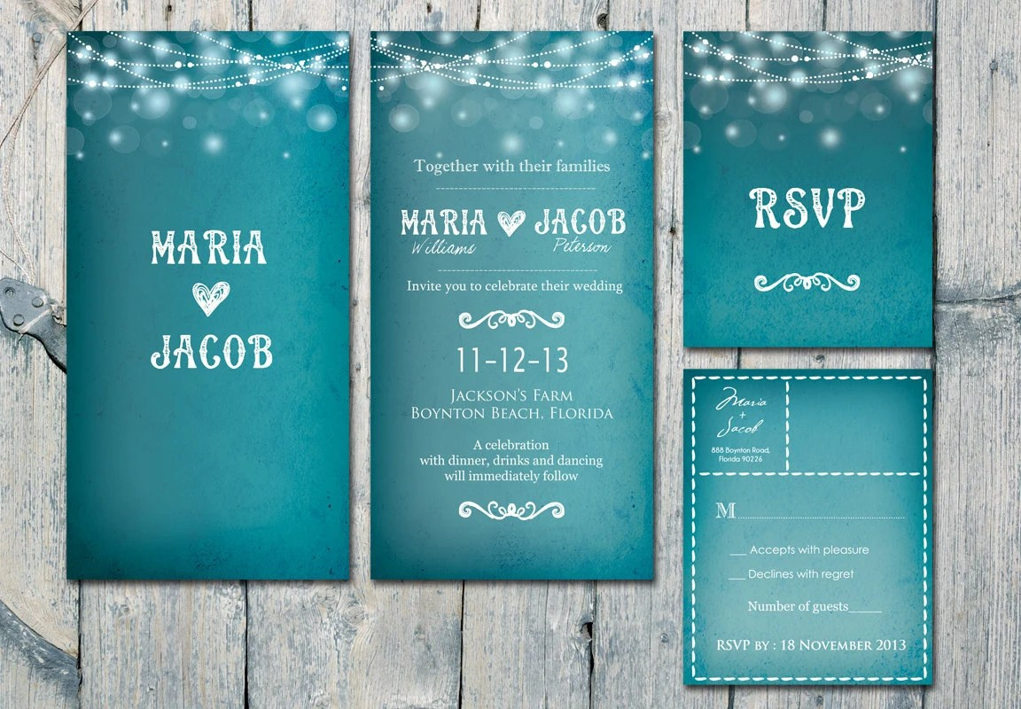 Double-Sided - Romantic Blue Night and Garland Wedding Invitation and Reply Card Set - Wedding Stationery