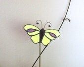 Stained Glass Yellow Butterfly Plant Stake - LadybugStainedGlass