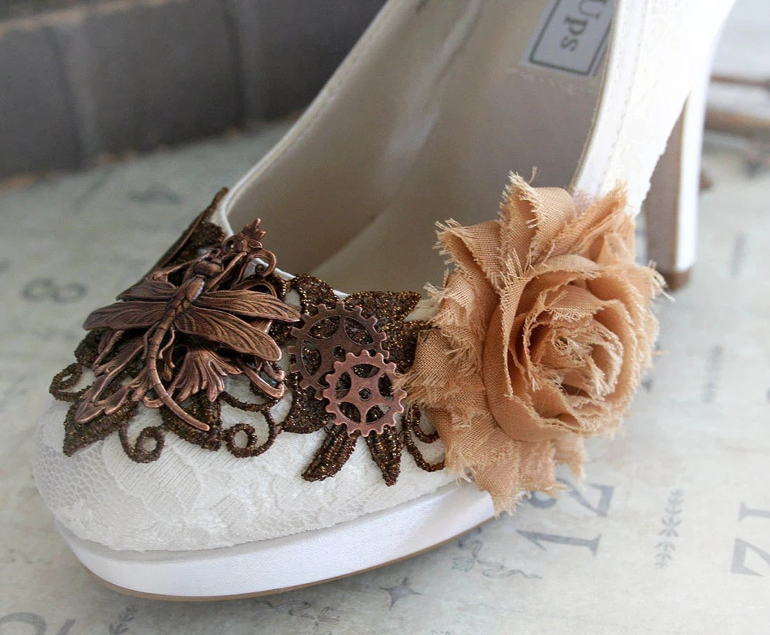 LIZBETH romantic Victorian, vintage inspired steampunk wedding shoes, made to order sizes 5 - 11, 12
