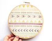 Tribal Pattern Hoop Art - 6 Inch Modern Wall Hanging - Contemporary Design - Original Pattern - Aztec - Triangles Chevron Arrows - IslaysTerrace