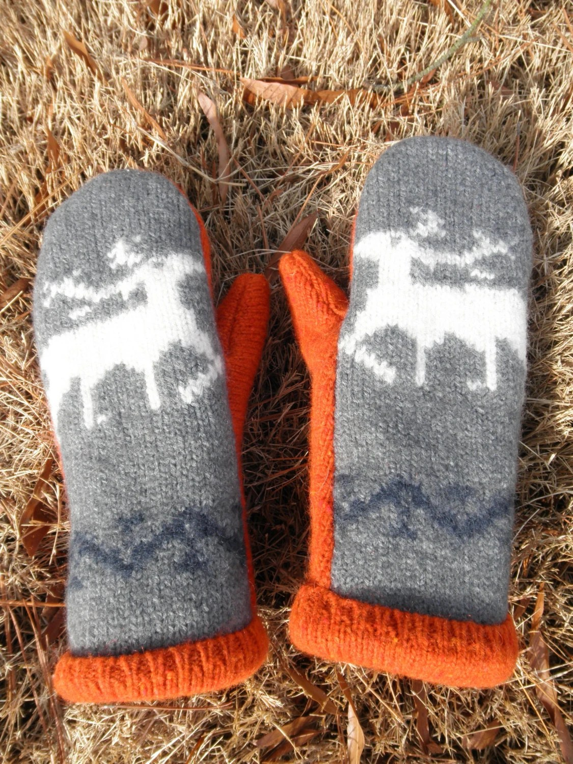 Recycled Gray and Orange Deer Pattern Wool Sweater Mittens, Fleece Lined