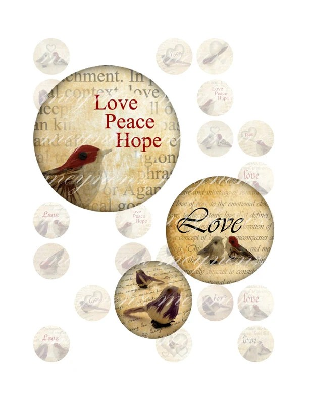 Birds in Love - Printable 1 inch round for jewelry, magnet - Jpg File no. A029 - meynenz