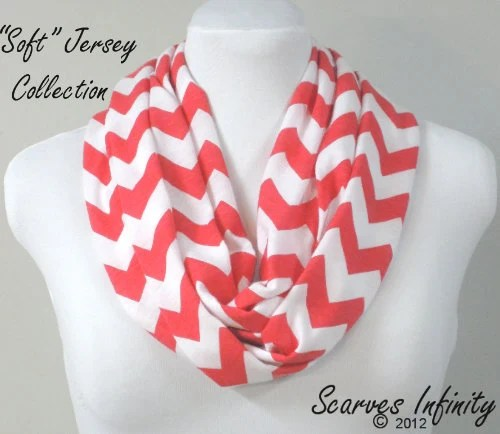 SOFT Chevron Infinity Scarf  in Coral - Modern Knit Circle Scarf by Scarves Infinity