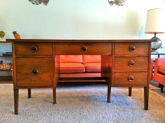 Mid-Century Solid Walnut Desk