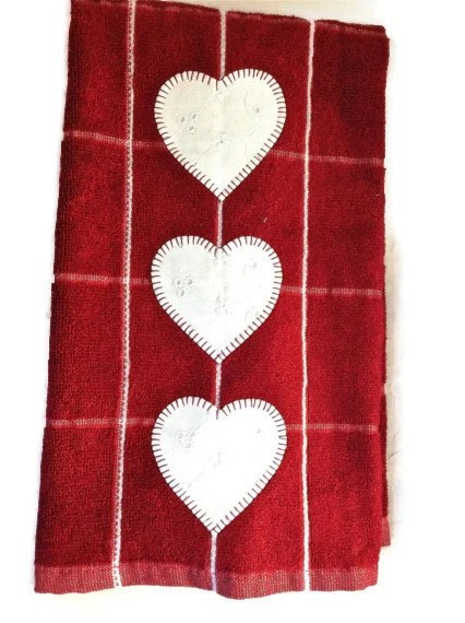 Terry cloth dish towel deep red white eyelet hearts - LeahsHeart
