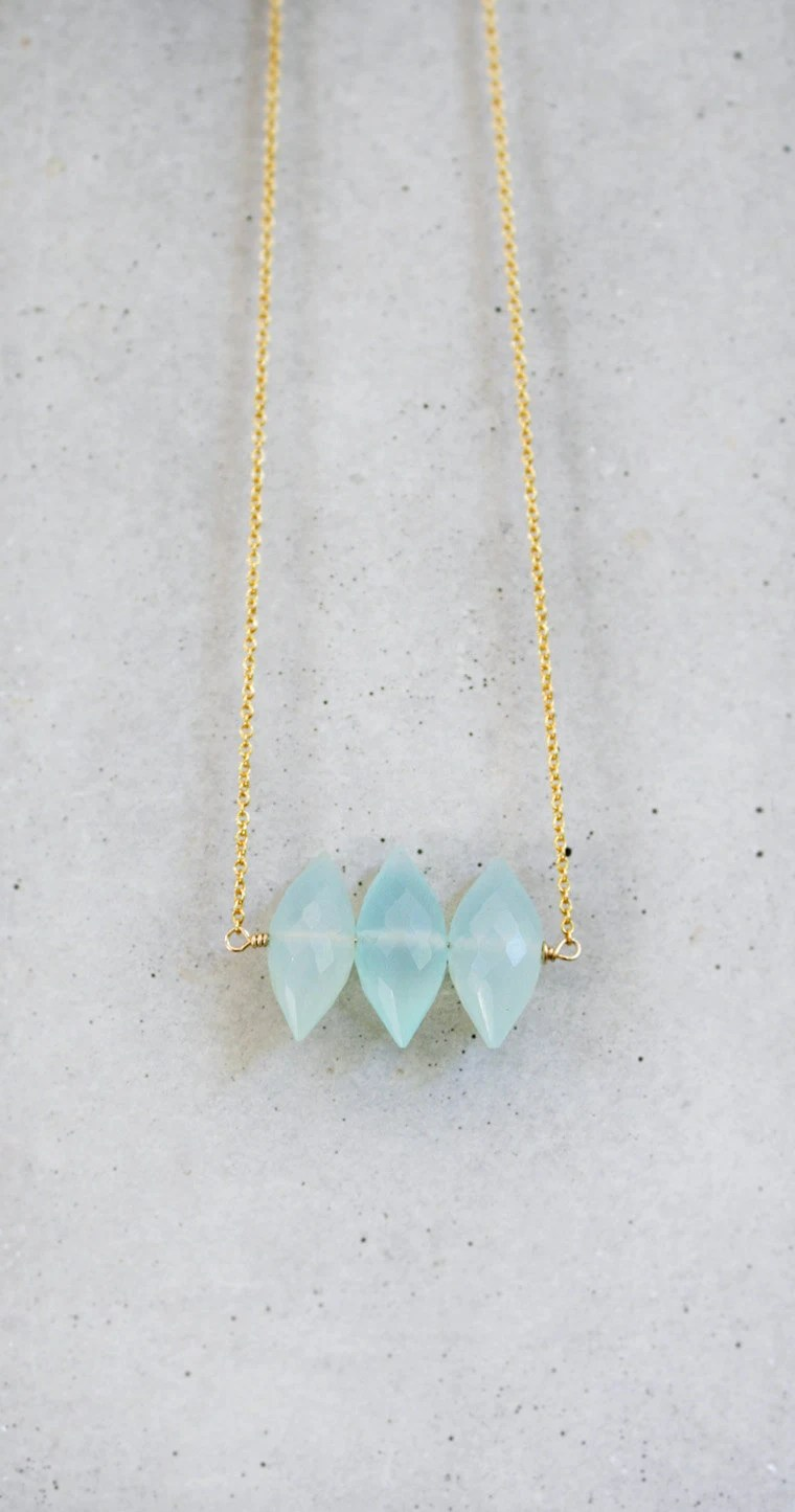 Aqua Blue Spike Necklace