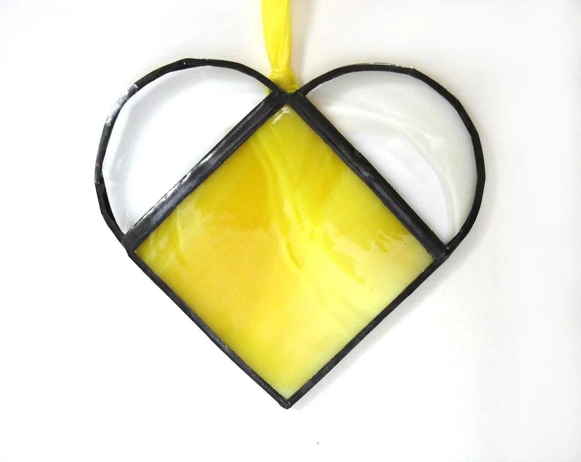 Small heart suncatcher, bright yellow stained glass window art ornament Valentines day gift - DesignsStainedGlass