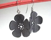 Cherry Blossom Earrings - eco friendly inner tube jewelry - black flower silhouette jewelry - Gloomstopper