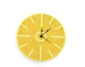 Yellow mosaic wall clock sunny golden honey sun large home decor mirror pieces - SirliMosaic
