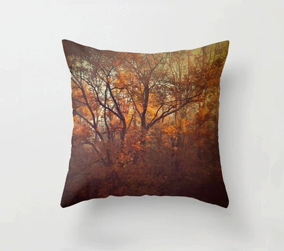 "Pillow Cover, Decorative Pillow orange and brown 16""x16"" or 18""x18"" throw pillow fine art photography autumn tree photo - semisweetstudios"