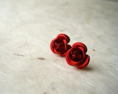 Crimson Red Rose Earrings. Lightweight Aluminum Rose Studs. Red Earrings. Metal Studs. Spring Jewelry. FSE1 - PiggleAndPop