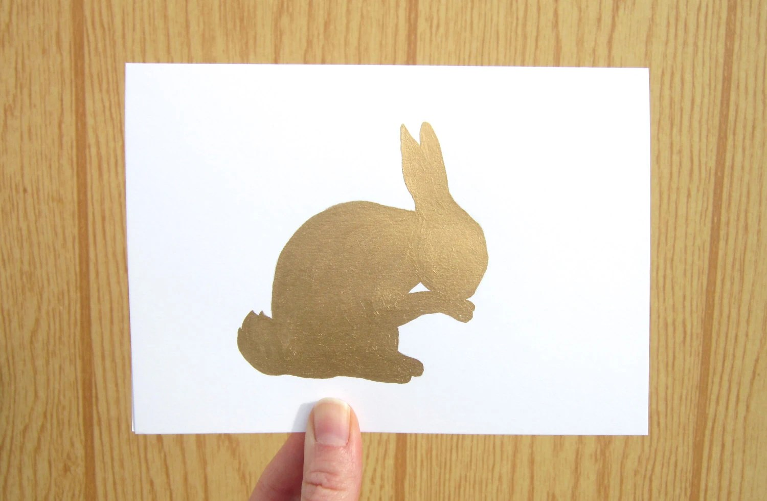 Brass Rabbit Card - Hand painted original card based on brass rabbit figurine - Valentine's Day card, Easter card, Blank card, Birthday card - WingedWorld