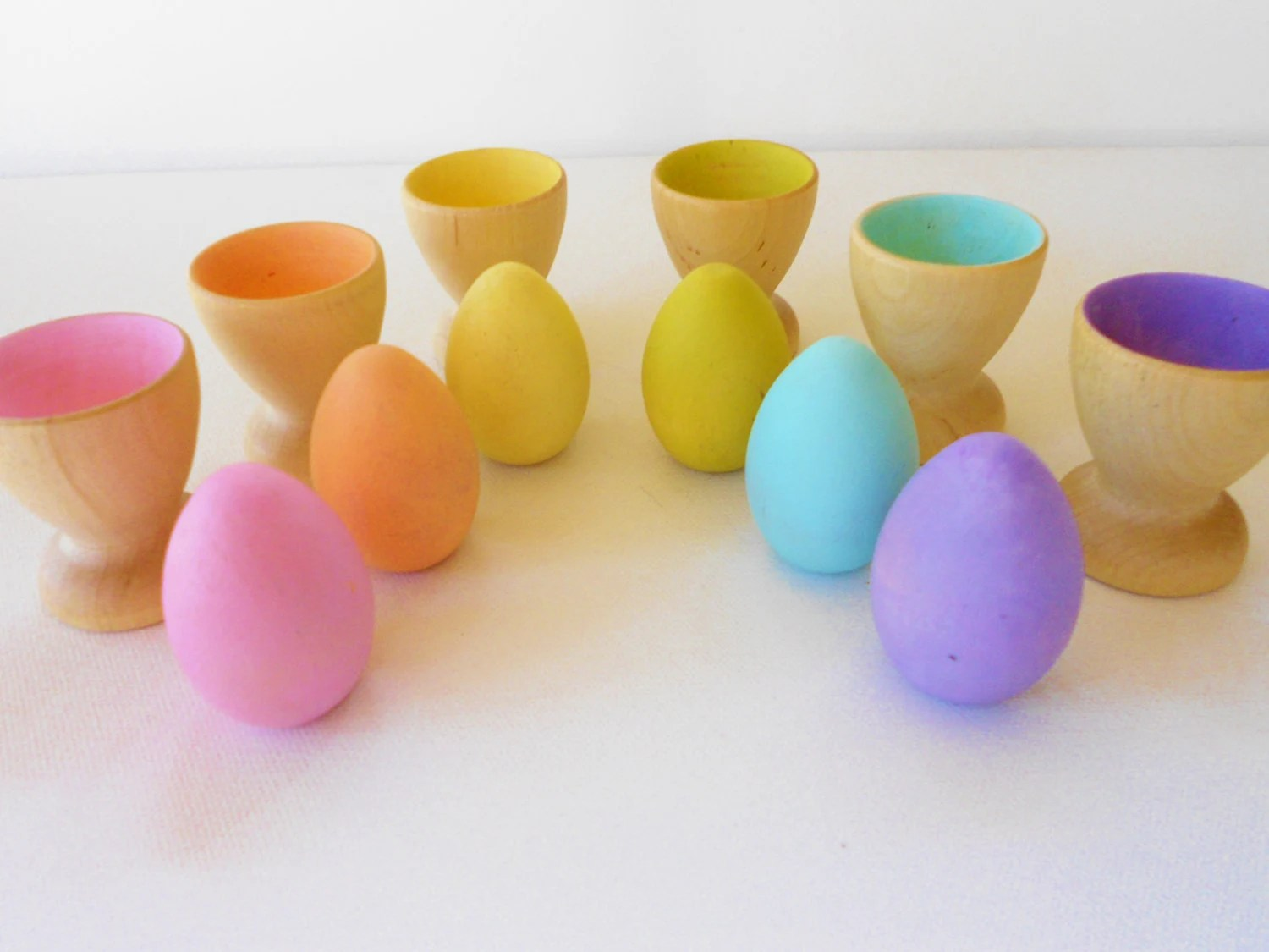 Wood play eggs and cups montessori color matching game - laughingcrickets