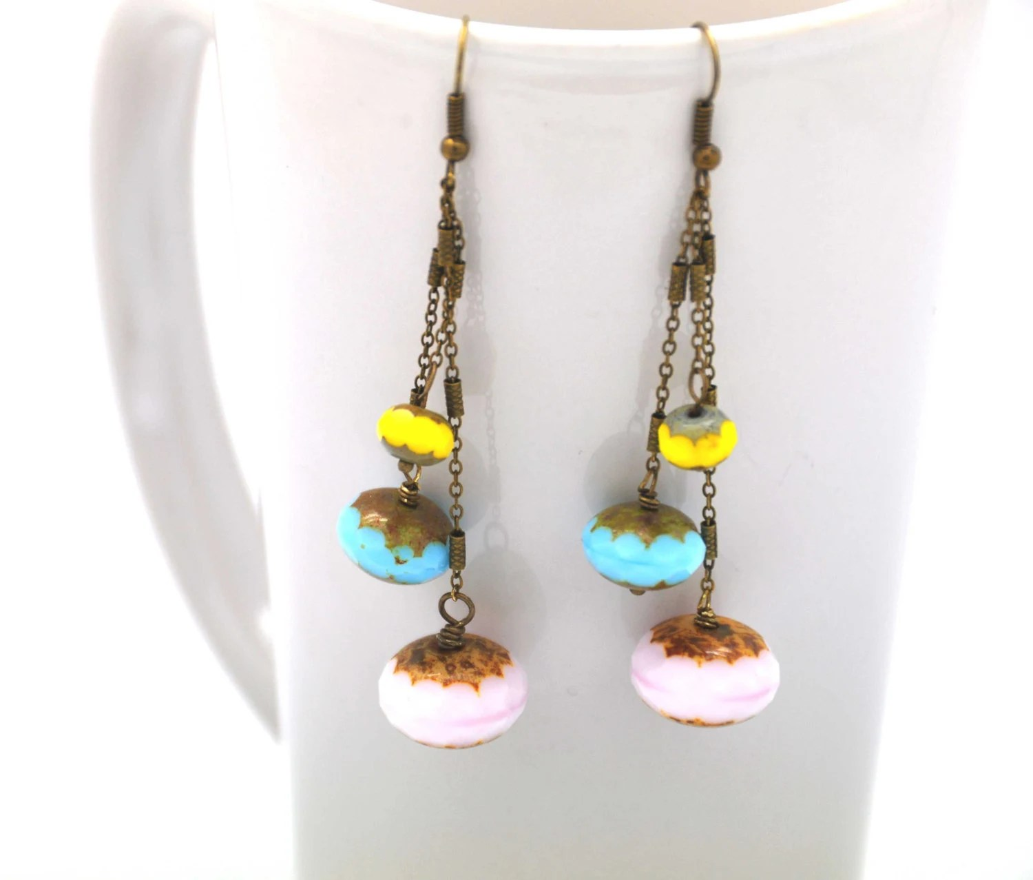 Sweet Spring Dangle earrings made with pink, blue, yellow rondelle faceted czech glasses and a delicate antique brass chain - BBTAR